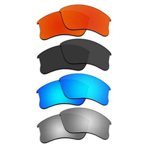 Replacement Sunglasses Lenses for Oakley Flak Jacket XLJ With Polarized (Fire Red Mirror+Black+Ice Blue Mirror+Titanium Mirror) by ACOMPATIBLE (Image #2)