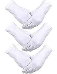 Sumind 3 Pairs Nylon Cotton Gloves White Parade Costume Gloves Police Formal Tuxedo Honor Guard Special Occasions