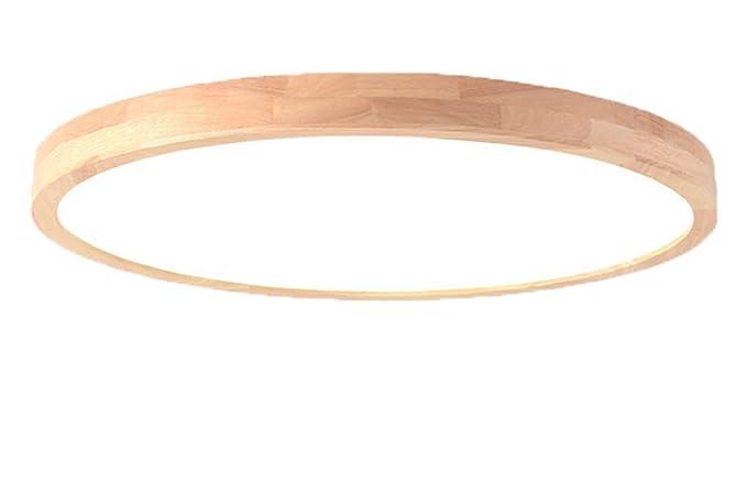 SJUN Deckenleuchte Holz Lampe Rund Holzlampe Dimmbar Mit Fernbedienung  Eiche Deckenlampe Schlafzimmer Vintage Leuchte Decke Licht Retro Mit Led ...