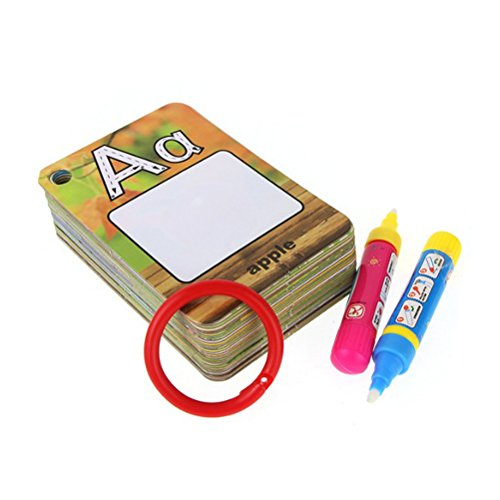 Price comparison product image Toyvian Water Painting Graffiti Book Card with Drawing Pens - 26 Letters, Kids Early Education