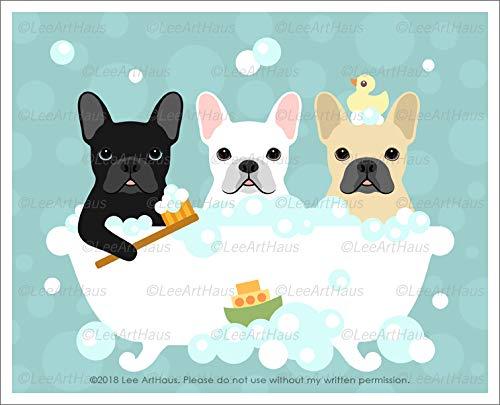 662D - Three French Bulldogs in Bubble Bath Bathtub UNFRAMED Wall Art Print by Lee - French Bulldog Artwork