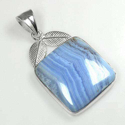 10.73 Gm 925 Sterling Silver Natural Blue Lace Agate Pendant Leaf Design Jewelry #KD-1899