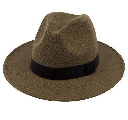 Lanzom Women Wide Brim Warm Wool Fedora Hat Retro Style Belt Panama Hat (Army Green, One Size) -