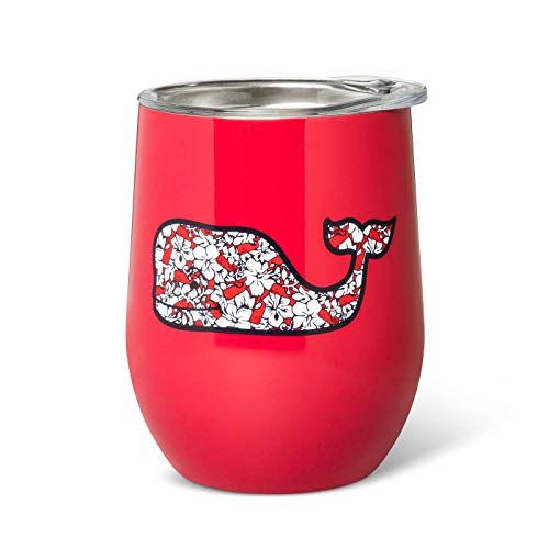 Vineyard Vines for Target Picnic/Travel Lidded Wine Glass, Red with Hibiscus Whale, 11.5 Oz