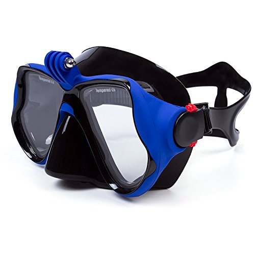 Gopro Snorkeling Mask Set, Anti-Fog Scuba Diving Mask with Gopro Camera Adapter Design for Hero HD, Session, Xiaomi Yi Action Camera - 4 Color (Blue)