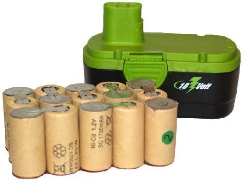 Nicd Battery Packs - 15 pcs (1 Pack) x 18 Volt Sub C 1700 mAh NiCd Batteries (Ideal for Pack Assembly)