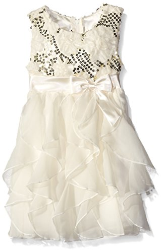 Price comparison product image American Princess Little Girls' Toddler Sequin Corkscrew Dress, Candlelight, 4T