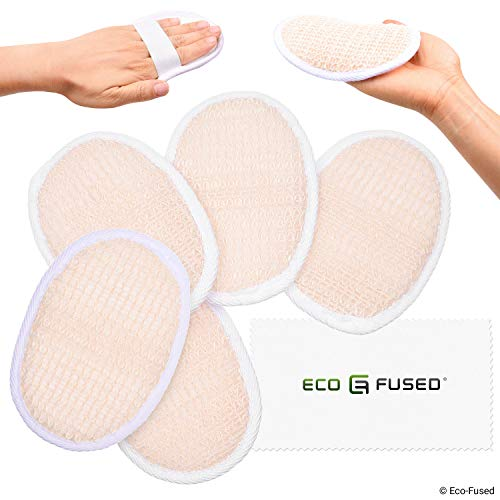 Loofah Pads (Pack of 5) - Exfoliating Scrubbing Sponges - Soft Cotton Material - Essential Skin Care Product - for Shower/Bath - Fibrous Texture - Perfect for Face/Body Wash - Wet It and Apply Soap