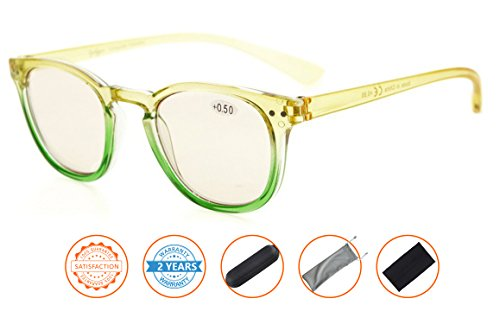 Price comparison product image Blue Light Blocking, Reduce Eyestrain, Computer Gaming Reading Glasses Women(Yellow-Green Frame, Amber Tinted Lenses) +4.0