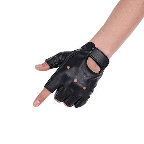 JISEN Men PU leather Punk Half Finger Hollow Out Gloves Black