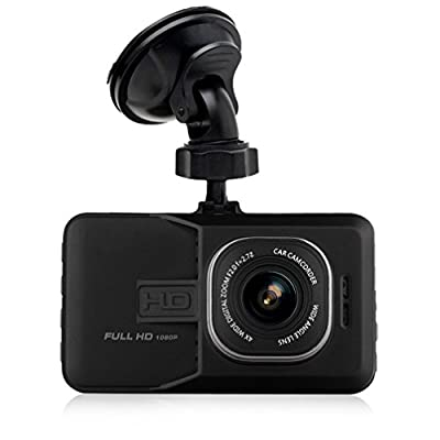 """[1080P Full-HD 170°Wide Angle] Maxesla Dashboard Camera Vehicle Video Recorder 3.0"""" LCD Screen Car Dash Cam Motion Detection G-Sensor Loop Recording Parking Monitor Car Security DVR with Quick Charge"""
