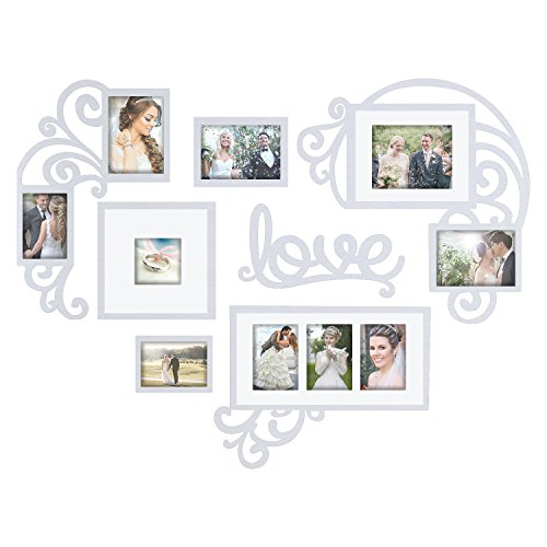 - Jerry & Maggie - Photo Frame | Plaque College Frame - Valentine Wall Decoration Combination - White PVC Picture Frame Selfie Gallery Collage W Wall Hanging Mounting Design | Love Heart Shape