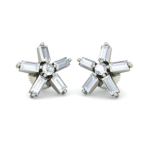 Or blanc 18 K 0.594 CT TW Round-cut-diamond (IJ | SI) Boucles d'oreille à tige