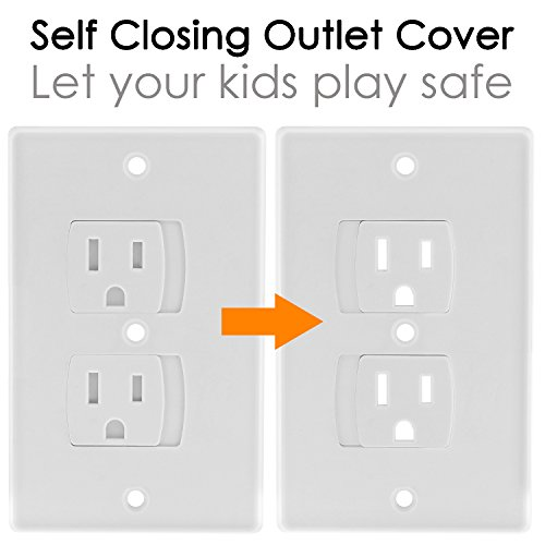 Baby Dröm Self Closing Electrical Outlet Covers, Child Proof Safety Universal Wall Socket Plugs, Automatic Sliding Cap Cover Standard Wall Outlet Plate (8 Pack) by Baby Dröm (Image #1)