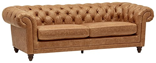 Stone & Beam Bradbury Chesterfield Modern Tufted Leather Couch, 92.9