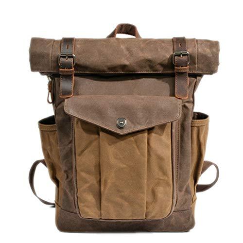 - Luxury Vintage Canvas Backpacks For Men Oil Wax Canvas Leather Travel Backpack Large Waterproof Daypacks