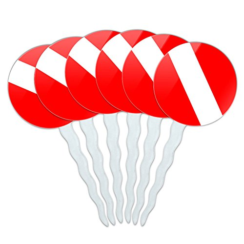 Set of 6 Cupcake Picks Toppers Decoration Diving Diver Scuba Flag - Scuba Diver Flag Diving
