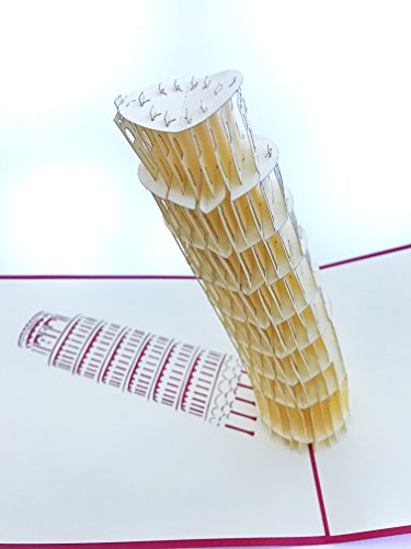 PopLife Leaning Tower of Pisa, Italy 3D Pop Up Greeting Card for All Occasions - Traveling, European Monument, History Lovers - Folds Flat for Mailing - Happy Birthday, Retirement, Wedding, Get Well - Italy Love Italian