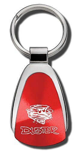 Mopar Plymouth Duster - Plymouth Duster Red Teardrop Shaped Key Chain Keychain FOB Ring Lanyard