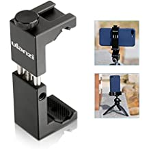 Metal Cell Phone Tripod Mount with Cold Shoe - Ulanzi ST-02S Universal Smart Phone Tripod Holder Mount Adapter for Apple iPhone X 8 7 6 & iPhone Plus, Samsung Galaxy Phones, Android Smartphones etc.