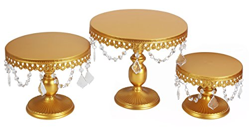 Wedding Cake Stand Set - VILAVITA 3-Set Antique Cake Stand Round Cupcake Stands Metal Dessert Display with Pendants and Beads, Gold
