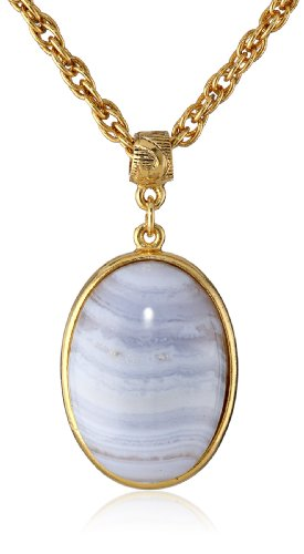 Lace Agate Oval Pendant - 1928 Jewelry