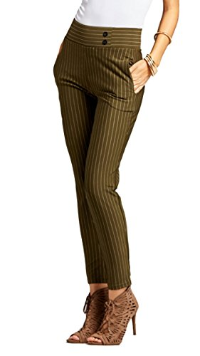 Premium Women's Stretch Dress Pants - Treggings - Slim Pinstripe Olive Green - Large - YS07-Stripe-Olive-L ()