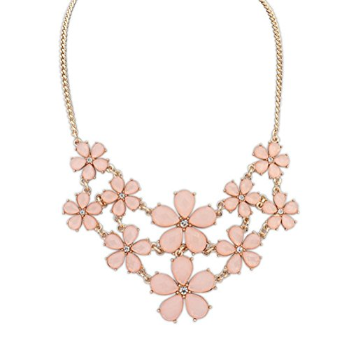 Winter's Secret Easy Dressing Small Sweet Pure Fresh Pink Flowers Female Statement Necklace