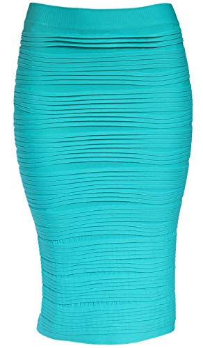 KMystic Strapless Tube Dress and Pencil Midi Bodycon Skirt in One (Turquoise)