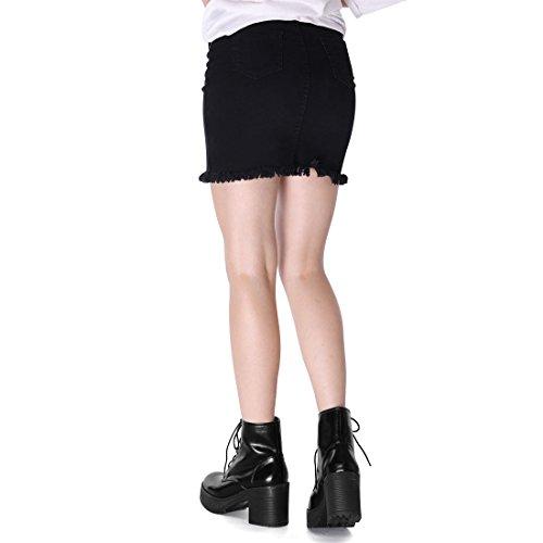 Allegra K Kvinna Chunky Klack Plattform Bekämpa Boot Svart