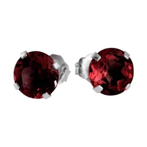 14k White Gold 6mm Round Garnet Stud Earrings (1.70 ct) (White Garnet Gold Earrings)
