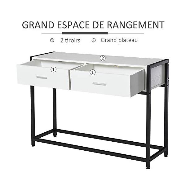 HOMCOM Console Table d'appoint Design dim. 120L x 34l x 81H cm 2 tiroirs métal Noir Panneaux Particules Blanc