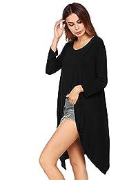beyove mujeres Sexy manga larga abierto alta frontal Split Clubwear Maxi vestido túnica Tops