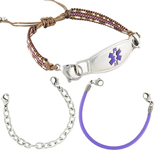 Value Pack (3) Medical Alert ID Bracelets | Free Engraving | Fun Interchangeable Styles |Custom Size | Fits Womens & Teens | Cora by N-Style ID