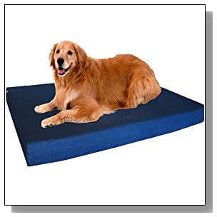 Dogbed4less XL Premium Orthopedic Memory Foam Dog Bed, Durable Blue Denim Cover with Waterproof Liner and Extra External Case, Gel Cooling 47X29X4 Pad