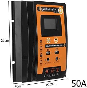 SCYDAO 50A Solarladeregler, MPPT Solar-Panel-Controller 12V / 24V Auto Paremeter Einstellbare LCD-Anzeige Sonnenkollektor-Batterie Regulator Mit Dual USB Port