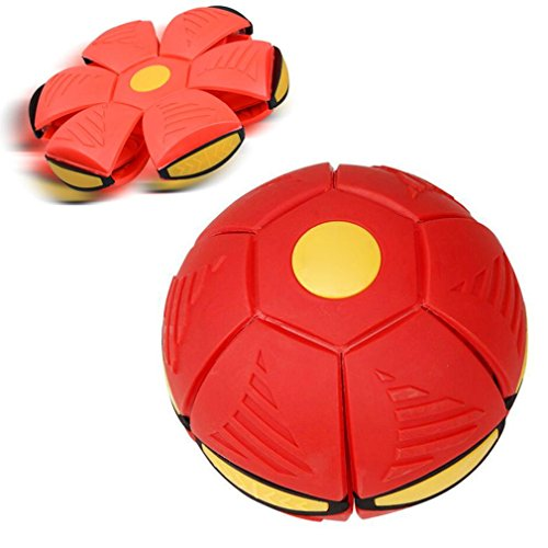 Auwer Novelty Magic Flying Saucer Ball UFO Flash Darts Flat Throw Deformation Catch Ball Frisbee Flying Discs Kids Toy Outdoor Soccer Game (Red)