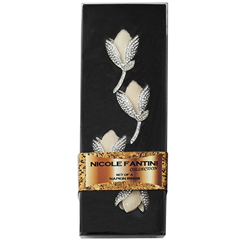 Nicole Fantini Fancy Tulip Flower with Crystals Napkin Rings Set of 4 with Gift Box (Napkin Rings Tulip)