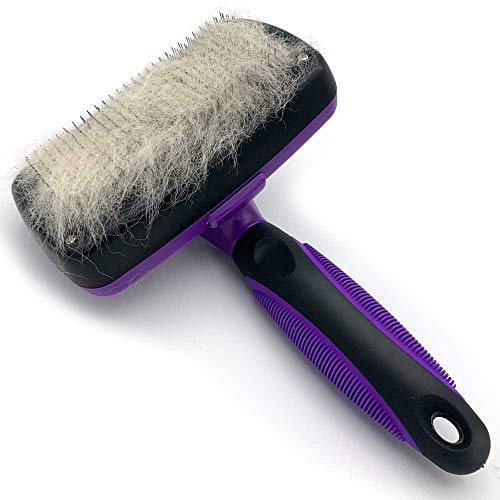 SoLID Self Cleaning Slicker Brush Shedding Grooming Tool for Dog Cat and Pets