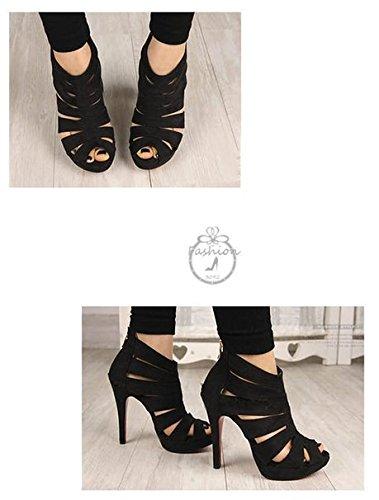 Vrouwen Platform Pump Stiletto Hoge Hakken Enkellaars Sandaal Schoenen Zwart
