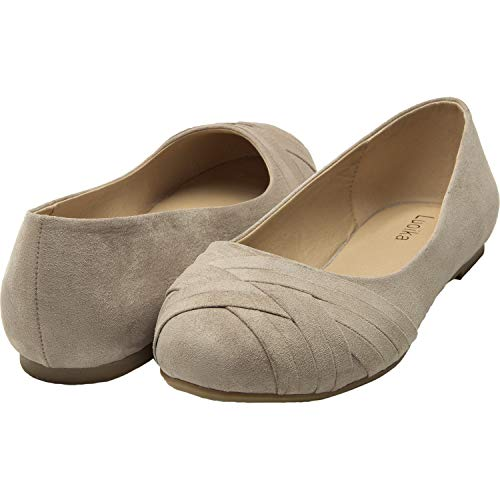 Luoika Women's Wide Width Flat Shoes - Comfortable Slip On Round Toe Ballet Flats(Beige 180301,8)