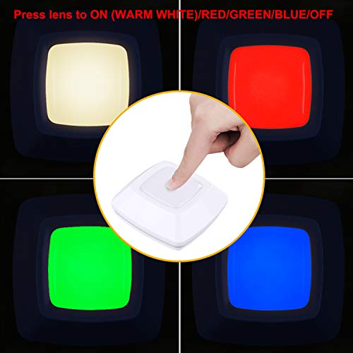 HONWELL RGB Puck Lights, LED Closet Lights, Push Light, Battery Powered Lights, Touch Night Lights, Wireless Under Cabinet Kitchen Lighting, Stick on Lights, Under Counter Lighting by HONWELL (Image #1)