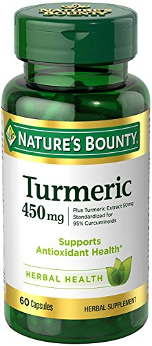 Nature's Bounty Turmeric Pills and Herbal Health Supplement, Supports Joint Pain Relief and Antioxidant Health, 450mg, 60 Capsules 450 Mg 60 Capsules