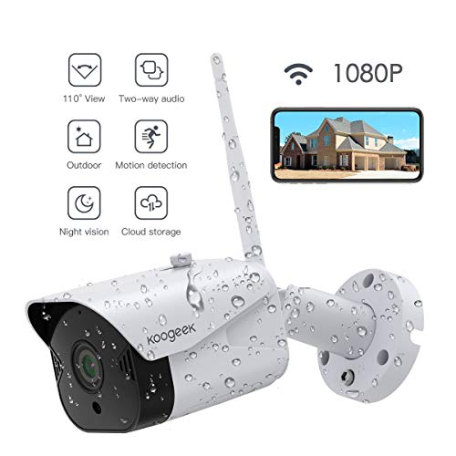 Outdoor Security Camera, Koogeek 1080P Outdoor Surveillance Cameras Waterproof IP65 WiFi Camera Compatible with Alexa, IP Camera 2.4Ghz with Two-Way Audio, Night Vision,Motion Detection Activity Alert