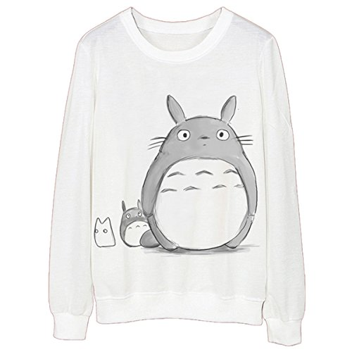 JUNG KOOK Womens Girls Long Sleeve Totoro Print Scoop Neck Shirt Pullover Sweatershirt S White (My Totoro Neighbor Shirt)