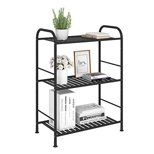 JSB 3-Tier Adjustable Shelving Unit, Heavy Duty Storage Rack Organizer Metal Corner Shelf for Kitchen Living Room…