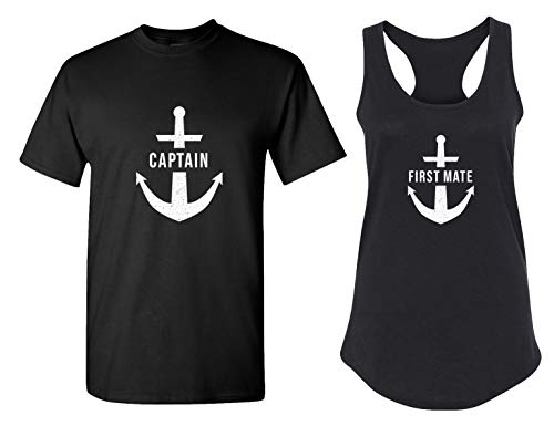 Captain & First Mate Matching Couple Tank Tops - His and Hers Racerback Shirts