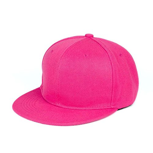 (Challyhope Fashion Unisex Plain Solid Color Caps Snapback Flat Hats Hip-Hop Bboy Baseball Cap, Adjustable Size (Hot Pink))