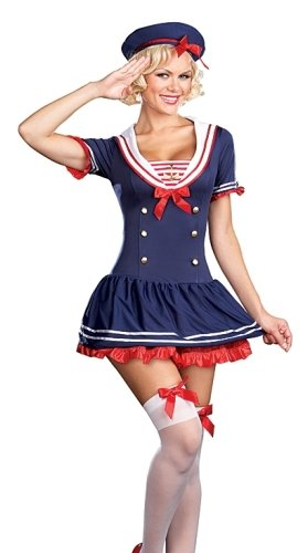 (Sexy Pin Up Navy Sailor Girl Adult Halloween Costume L Womens US Large (Dress)
