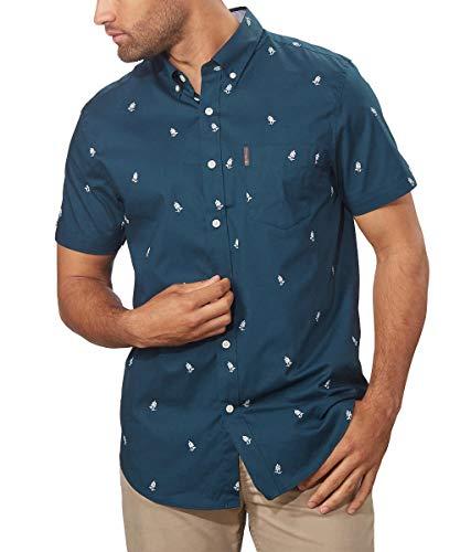 Ben Sherman Men's Short Sleeve Stretch Woven Button-Down Shirt (Deep Teal, XX-Large)
